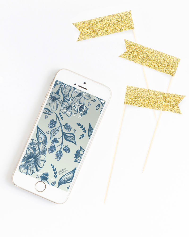 August's Blue Floral Free Desktop Download - Hand-drawn blue floral iPhone wallpaper