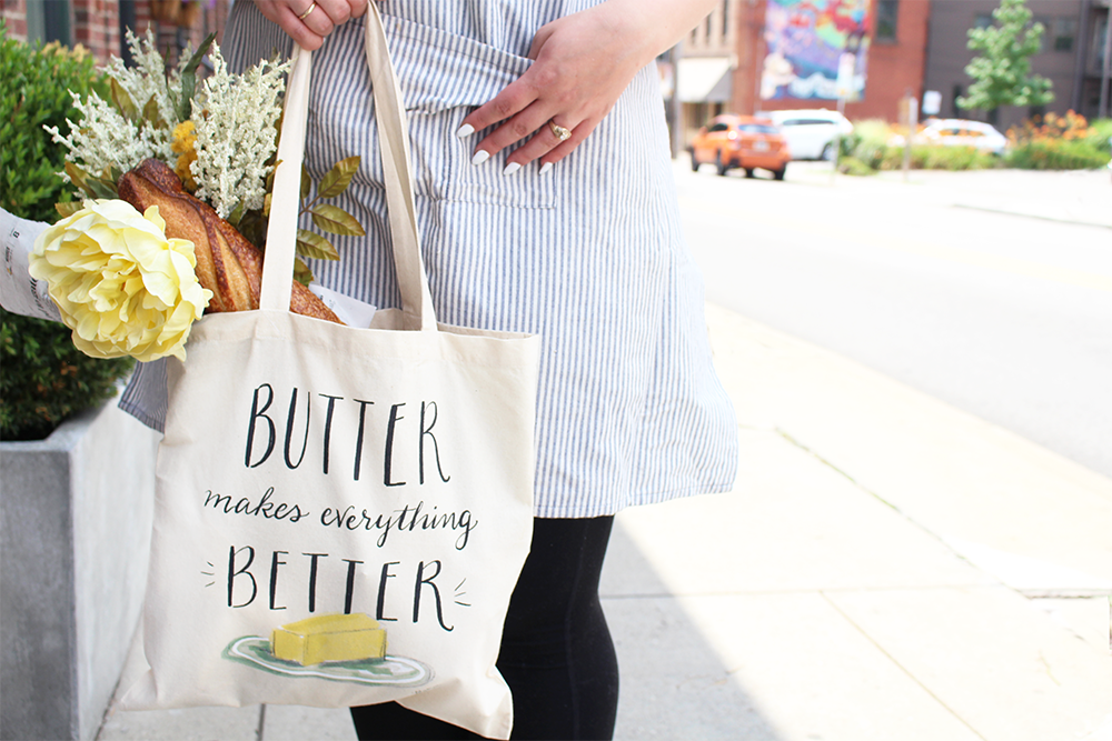 Butter makes everything better hand drawn grocery totes by Lily & Val