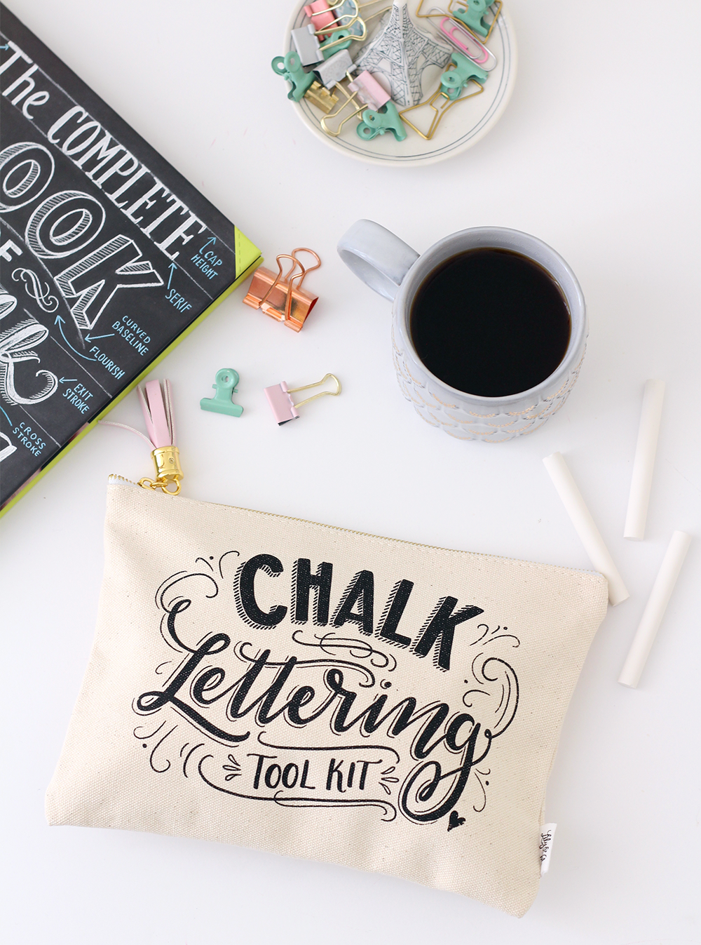 The Chalk Lettering ToolKit combines all of Valerie McKeehan's, author of the Complete Book of Chalk Lettering, favorite supplies in one place!
