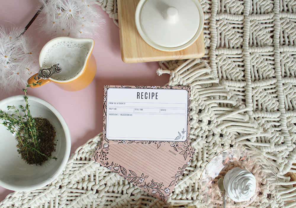 A hand-drawn floral kraft paper loose recipe card perfect for a bridal shower