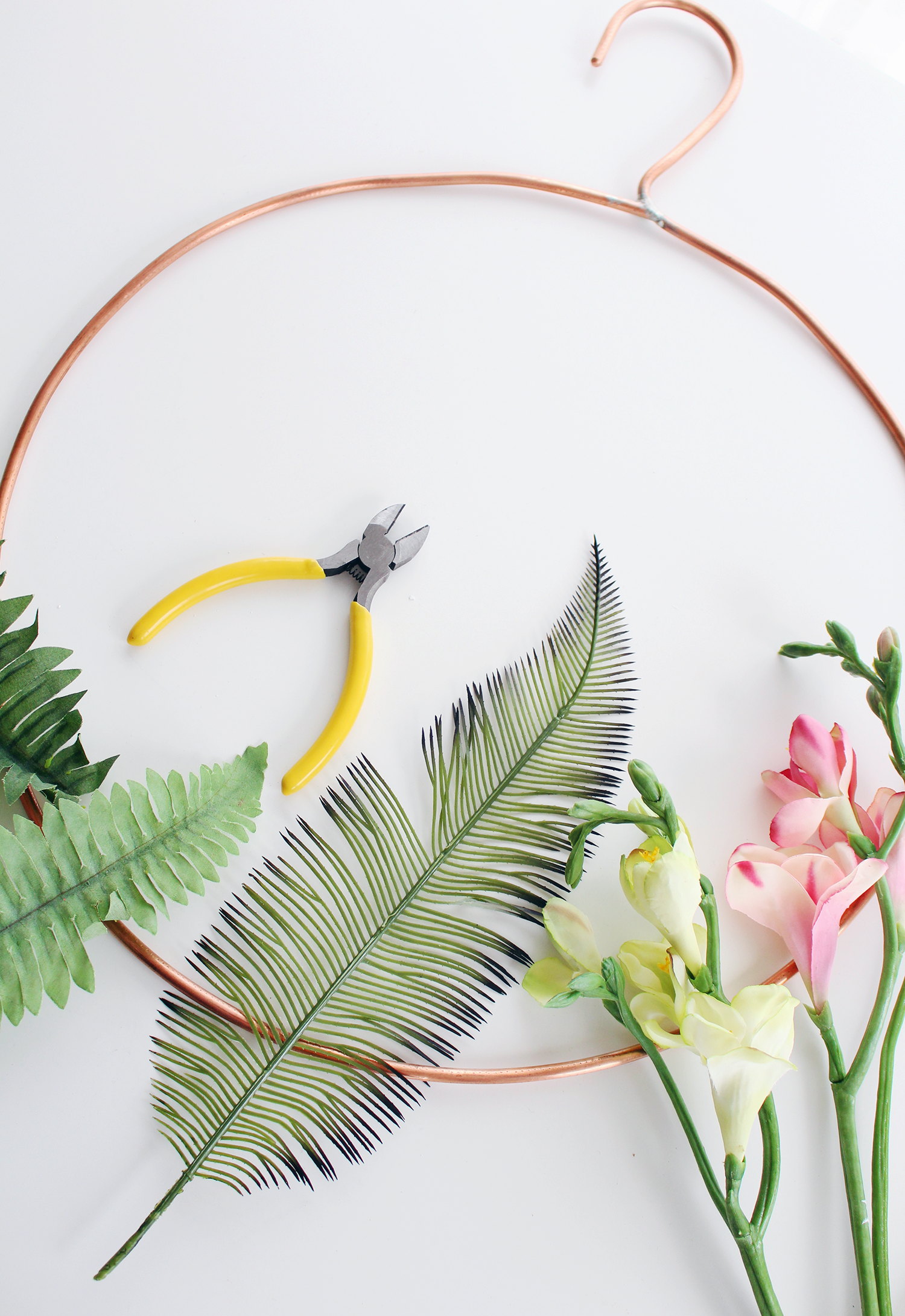 Faux Floral Skills Workshop at the Lily & Val Flagship Store in Pittsburgh. Learn how to make your own modern wreath with a tropical feel