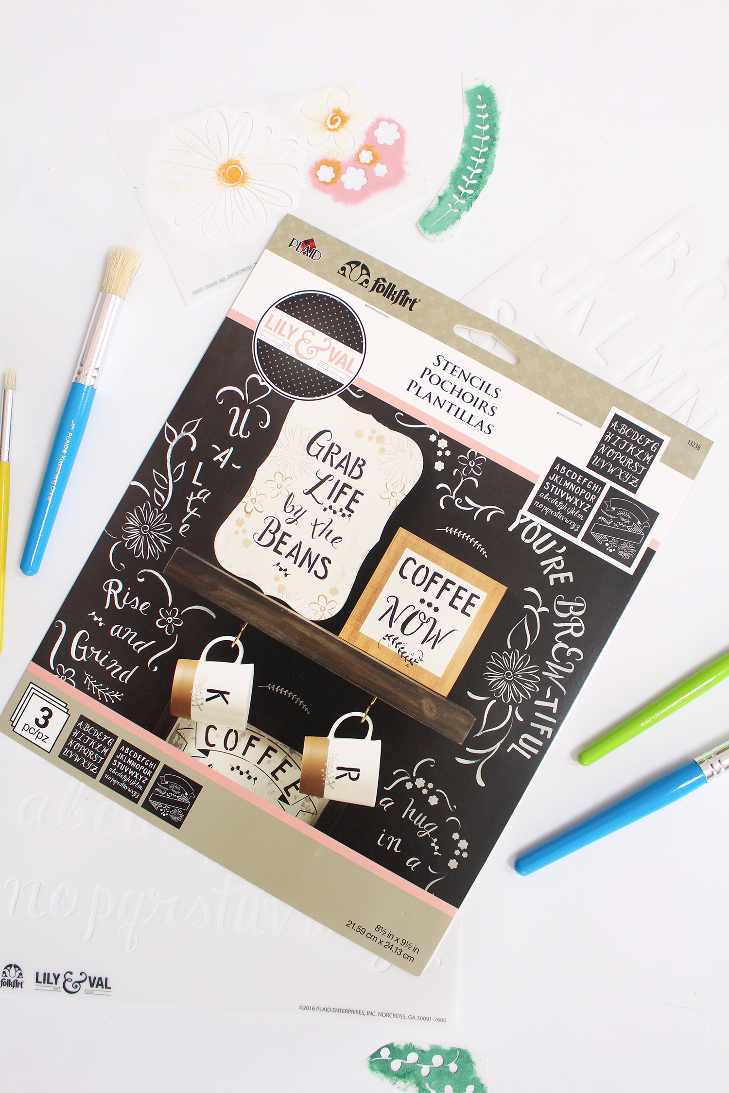 Introducing Lily & Val Chalkboard Lettering Stencils! Create gorgeous pieces of chalkboard art featuring Valerie McKeehan's signature hand lettering and embellishments. Available from Plaid Crafts at Michaels!