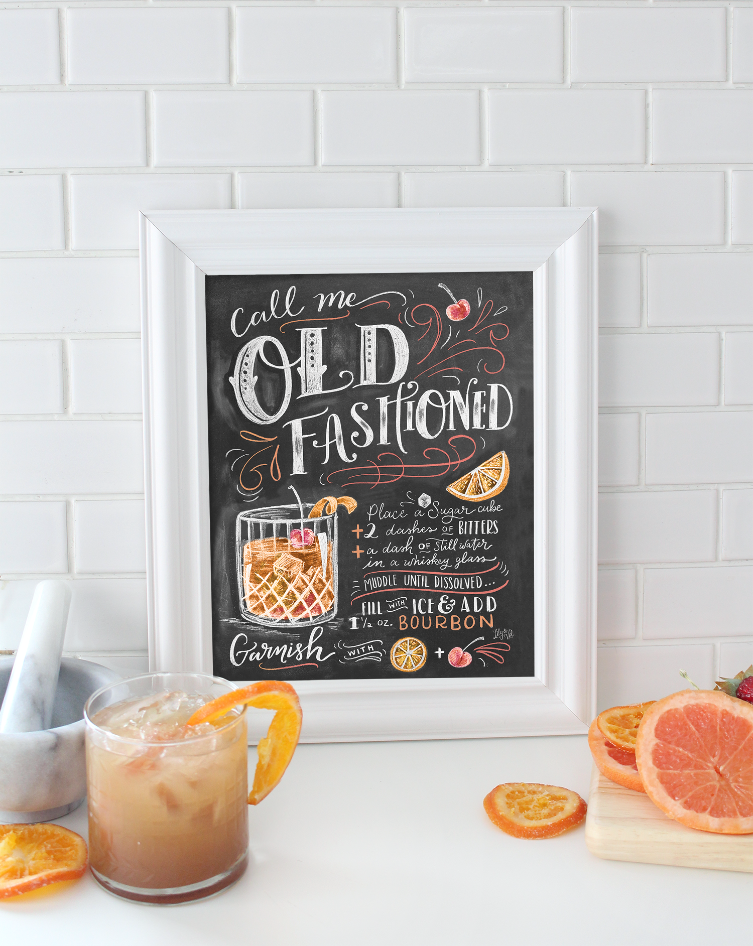 Call me Old Fashioned -a cute chalk art illustrated cocktail print to spruce up your summer bar carts and parties