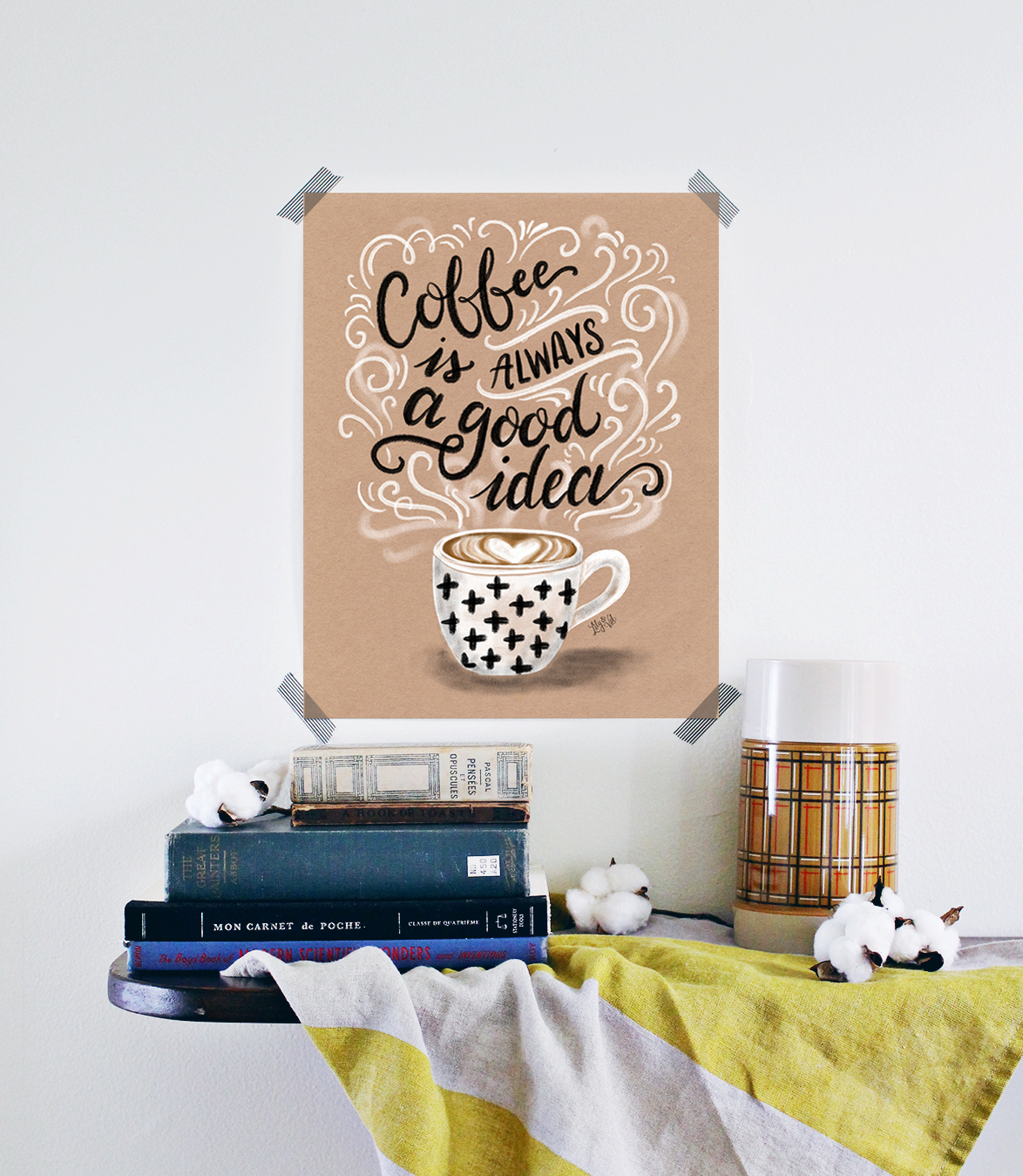 Coffee is always a good idea kraft paper print, hand drawn by Valerie McKeehan. A rustic-chic print for your coffee bar or kitchen.
