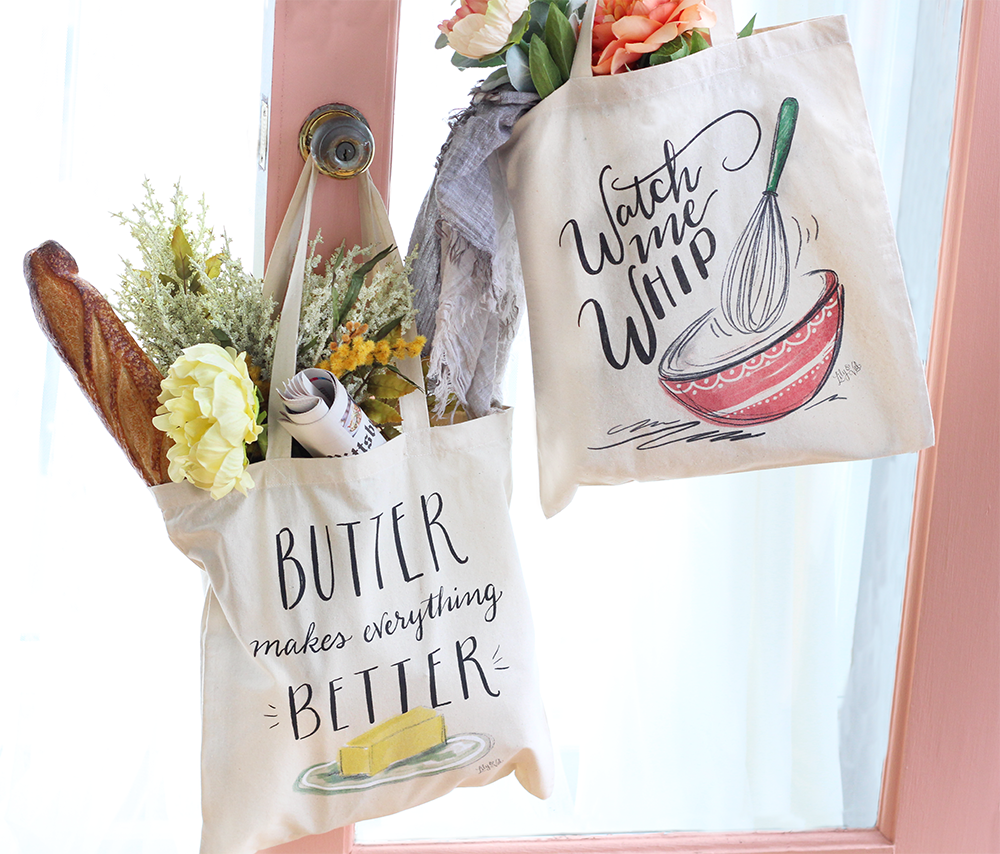 NEW grocery totes by Lily & Val! Sure to bring a smile during your farmers market or grocery runs