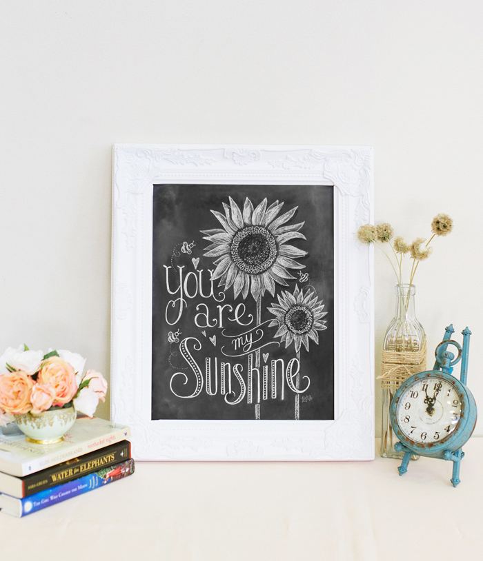 You are my sunshine black and white chalk art design by Valerie McKeehan