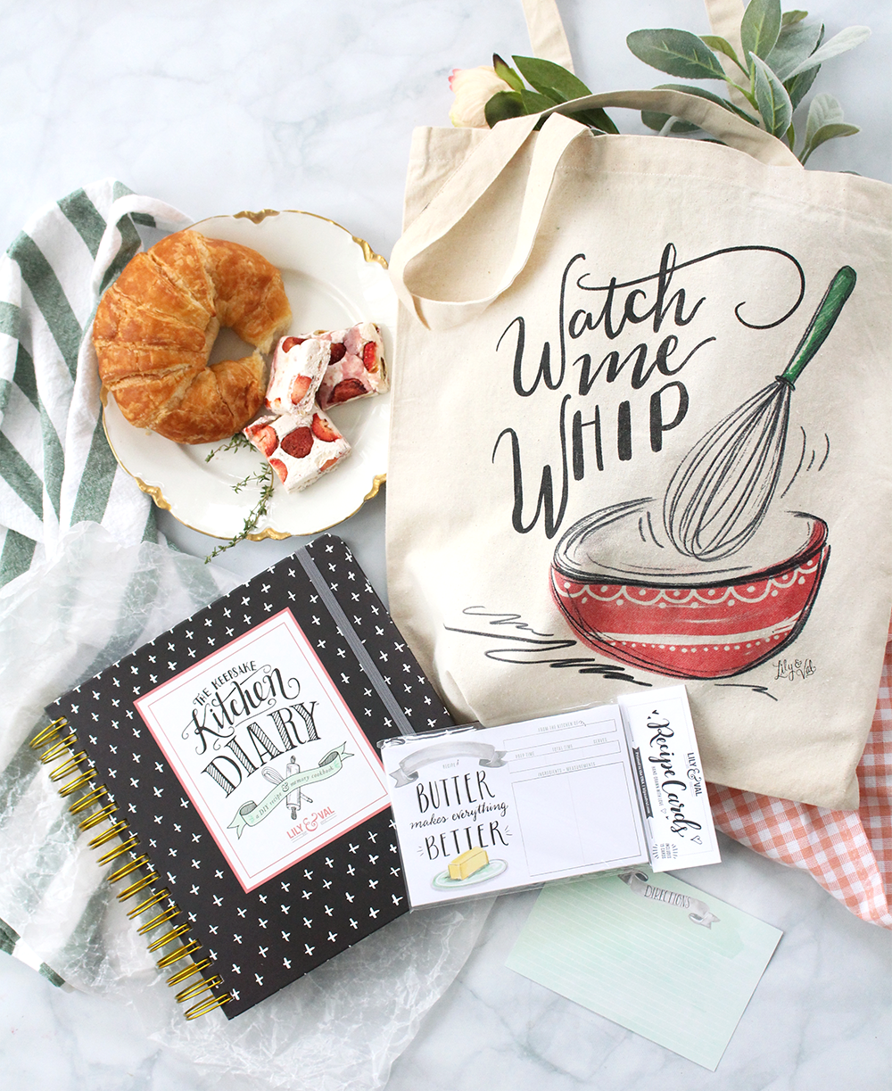 3 of our favorites for a special price! Save 20% off our Baker's Bundle! Includes the best-selling Keepsake Kitchen Diary, Watch Me Whip Tote, and Butter Makes Everything better loose recipe cards!