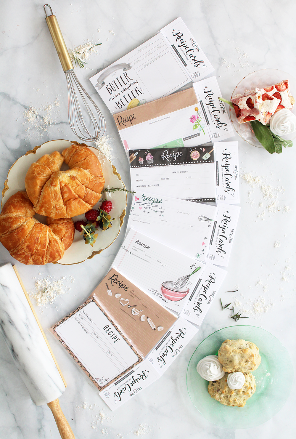 NEW Loose recipe cards by Lily & Val! 7 designs to choose from and they come in packs of 15!