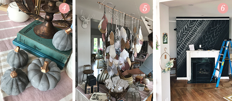 Lily & Val Presents: Pretty Ordinary Friday #66 with pumpkin everything decor, feather wall hangings, chalkboard mantel designs