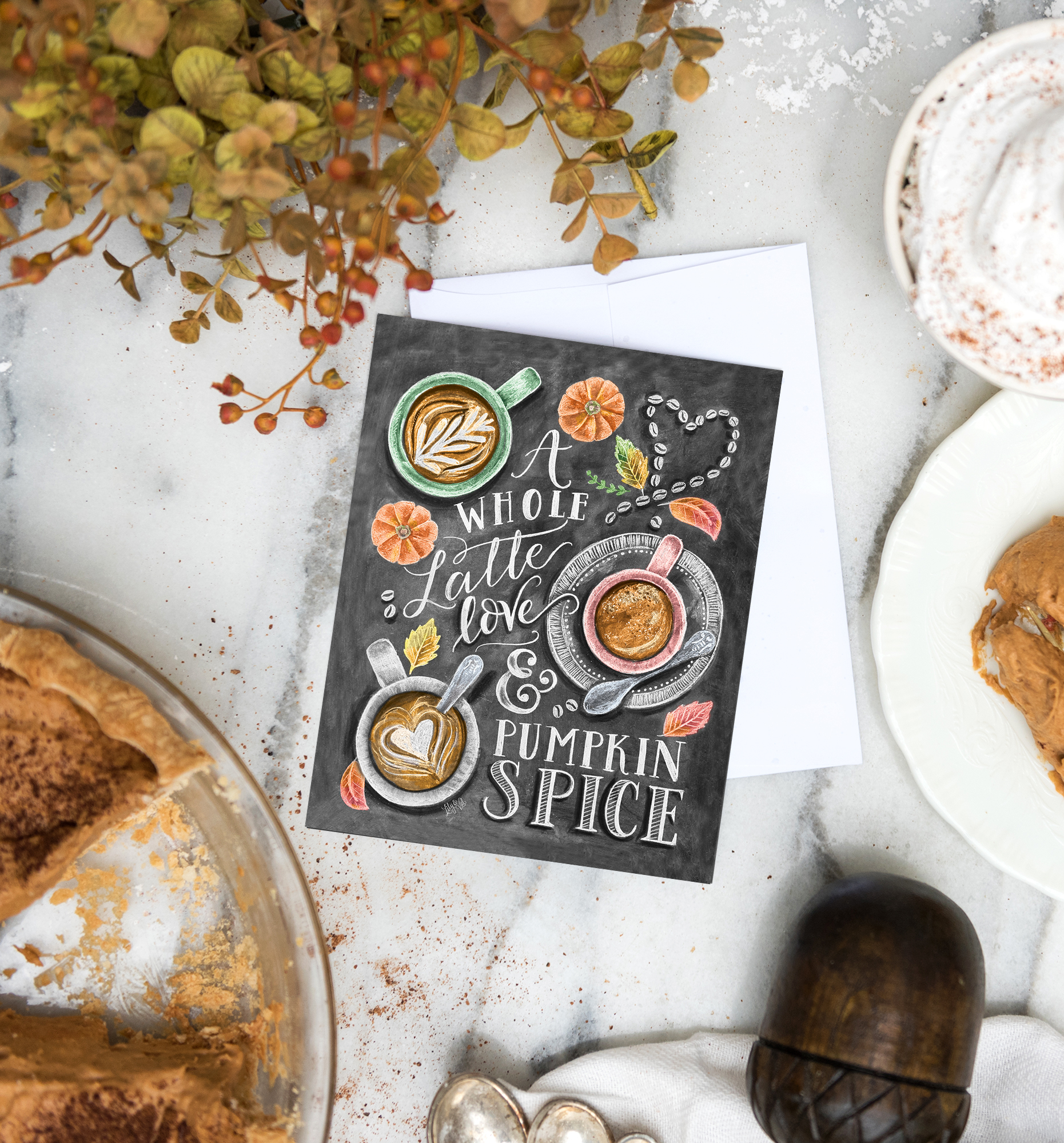 Pumpkin Spice Latte Card | Gift for Pumpkin Spice Lover | Chalk art