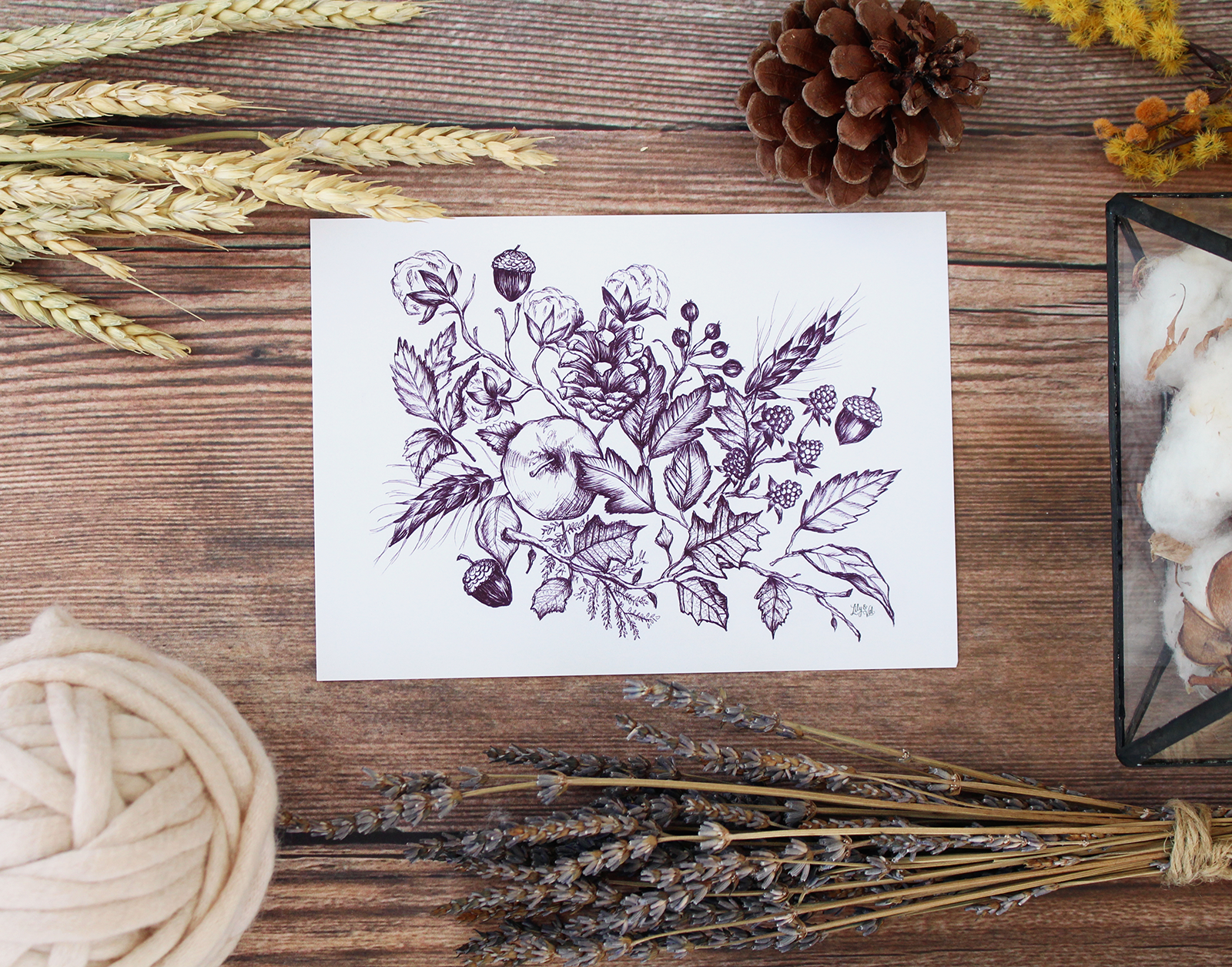 A beautiful plum colored botanical pen and ink drawing to cozy up your fall decorating