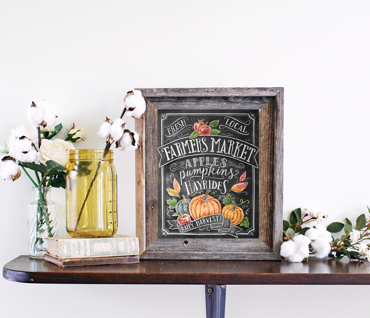 Fall Farmers Market Print | Fall Decor | Rustic Chic decor for fall
