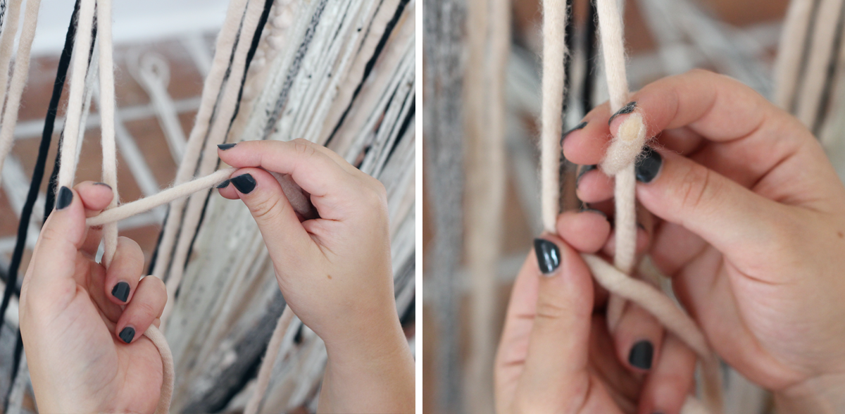 make a simple DIY yarn wall hanging for your fall decor
