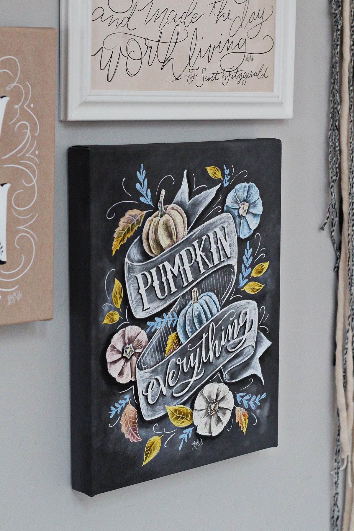 Mix and match framed prints and Lily & Val canvas for a beautiful gallery wall | Pumpkin Everything Chalk art canvas print