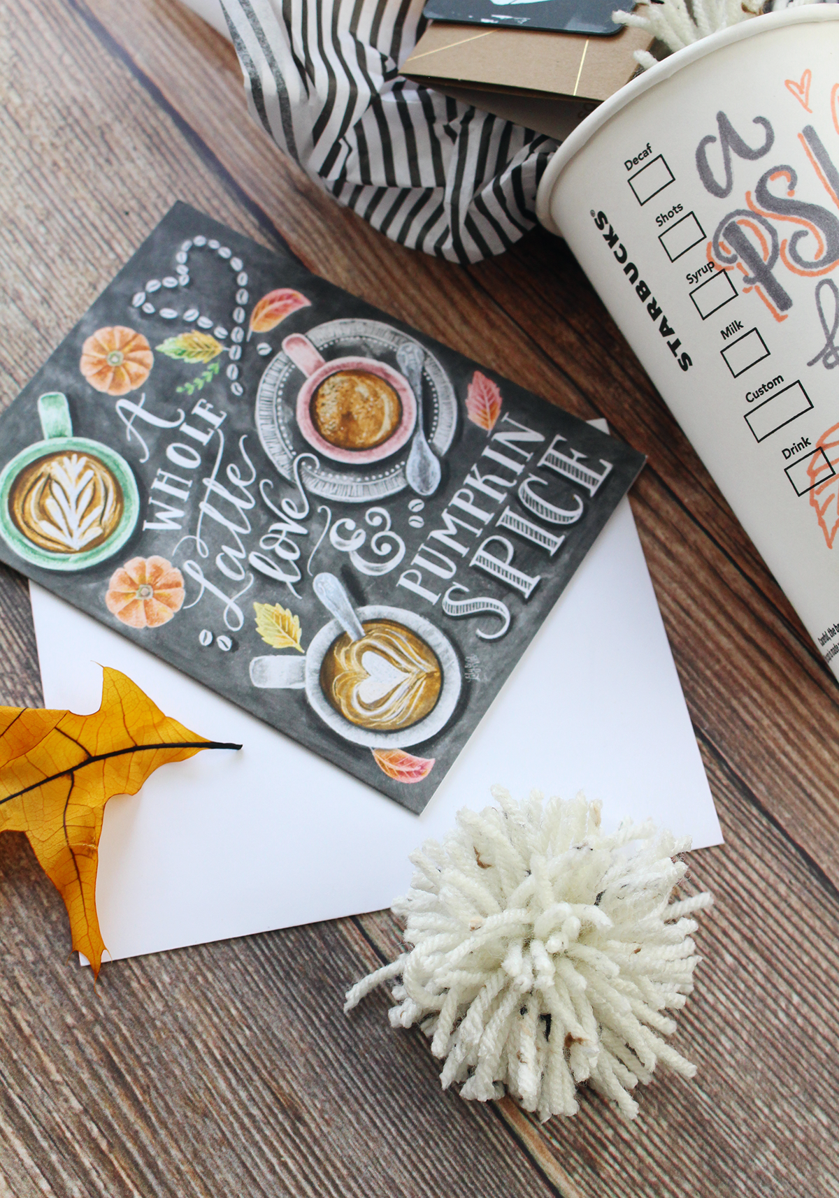 The perfect card to send to a pumpkin spice latte loving friend! chalk art card on Lily & Val