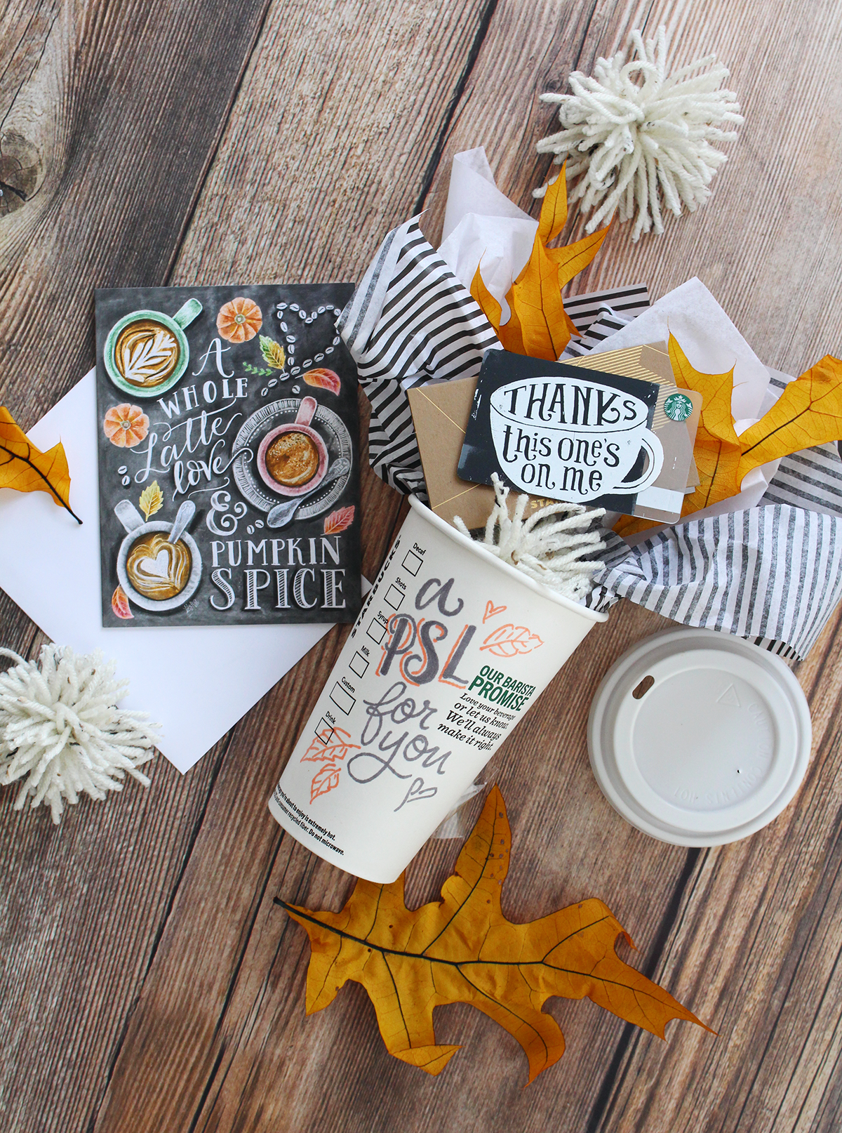 An easy fall gift idea for spreading the pumpkin spice love: hand letter on a starbucks cup, then fill it with a $5 Starbucks gift card and a Lily & Val Pumpkin spice latte card!