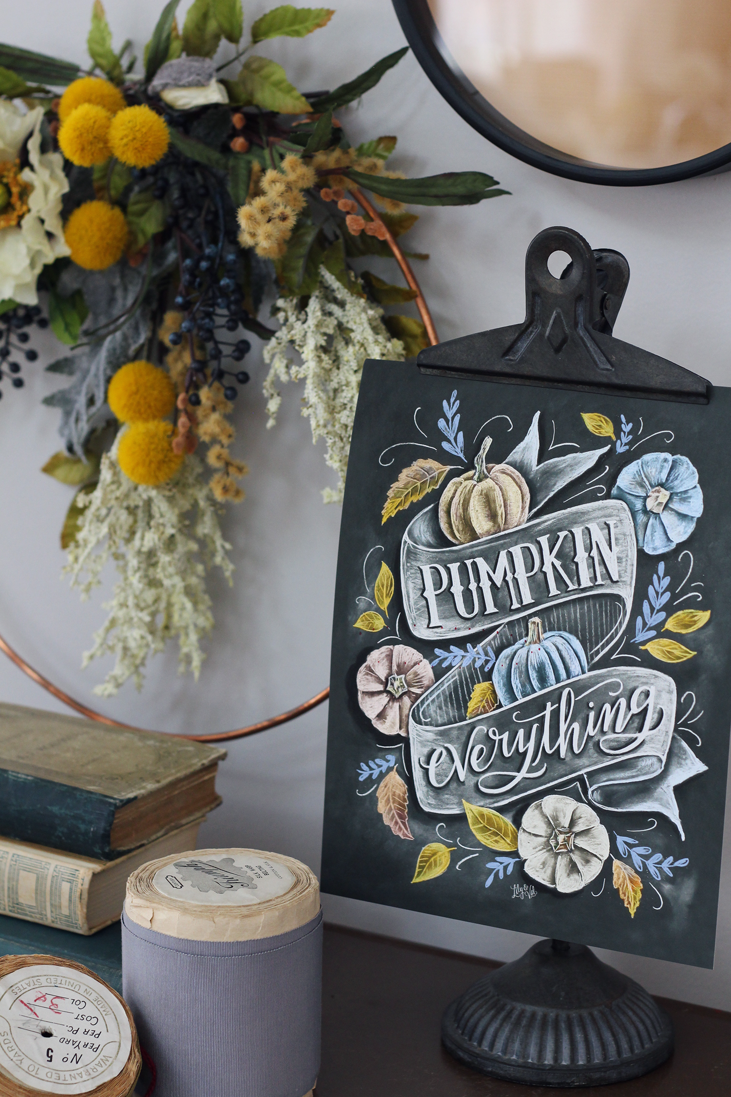 Pumpkin Everything chalk art design for your fall decorating | Pumpkin Decor