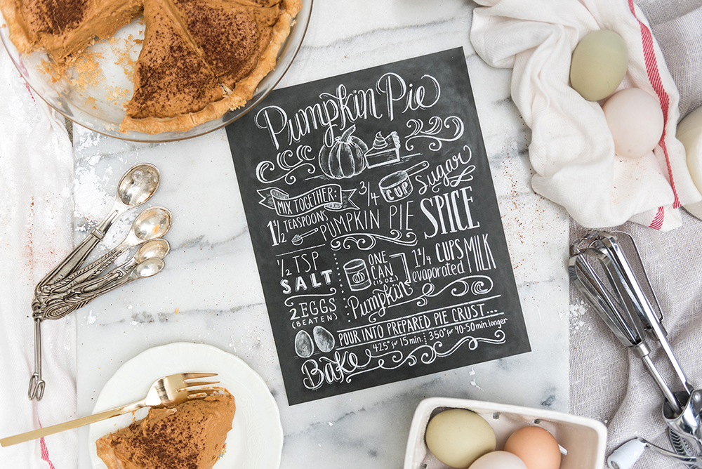 Pumpkin Pie Chalk Art Illustrated recipe print by Lily & Val | Fall Kitchen Decor