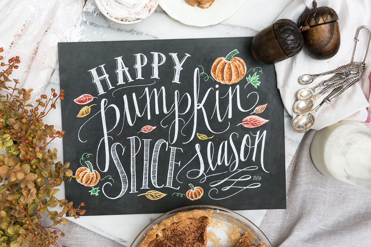 Happy Pumpkin Spice Season Chalk Art Sign for Your Fall Decorating | Pumpkin Spice Art