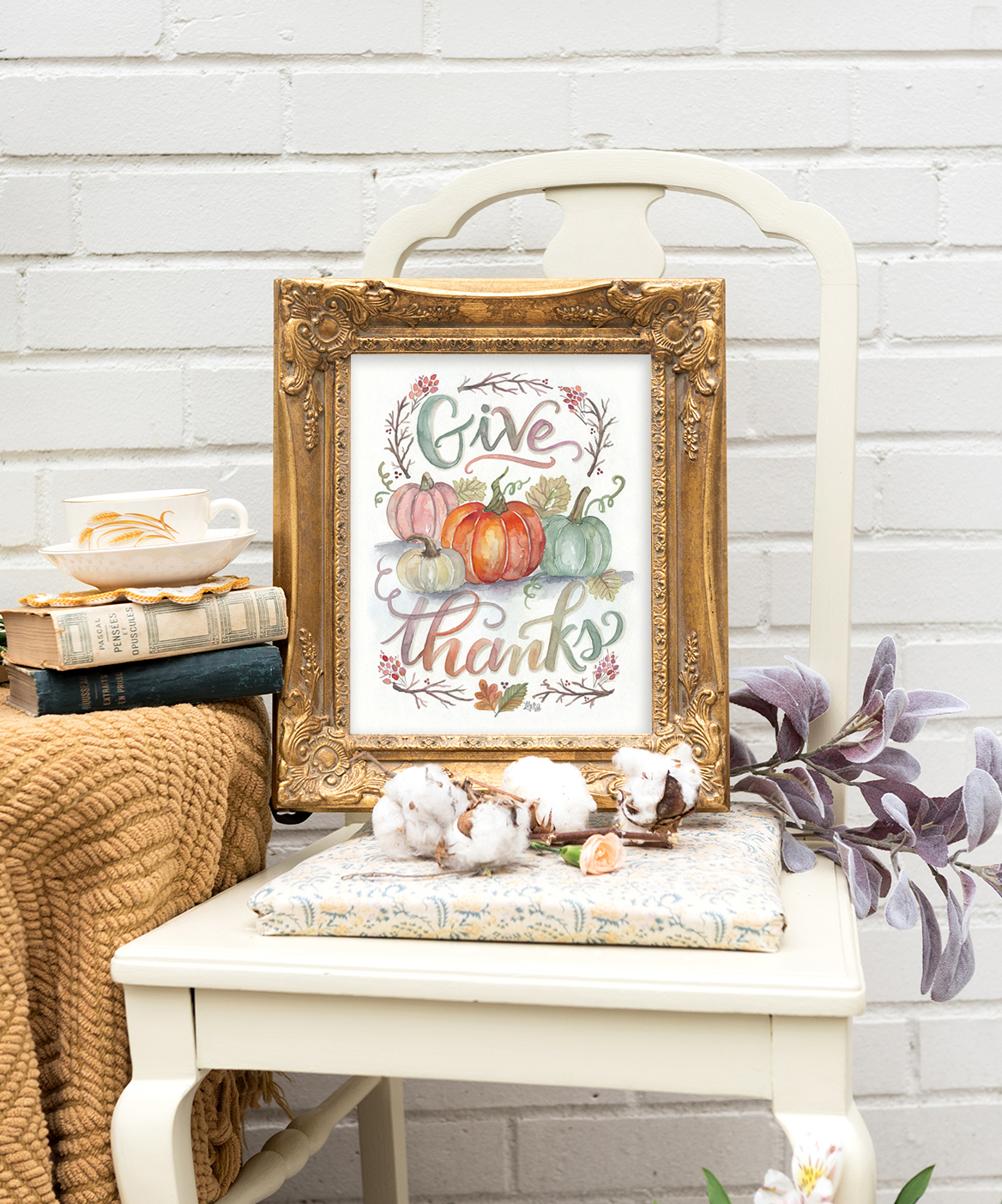 Give Thanks Watercolor Pumpkin Art for your Fall Decor | Cozy fall decor
