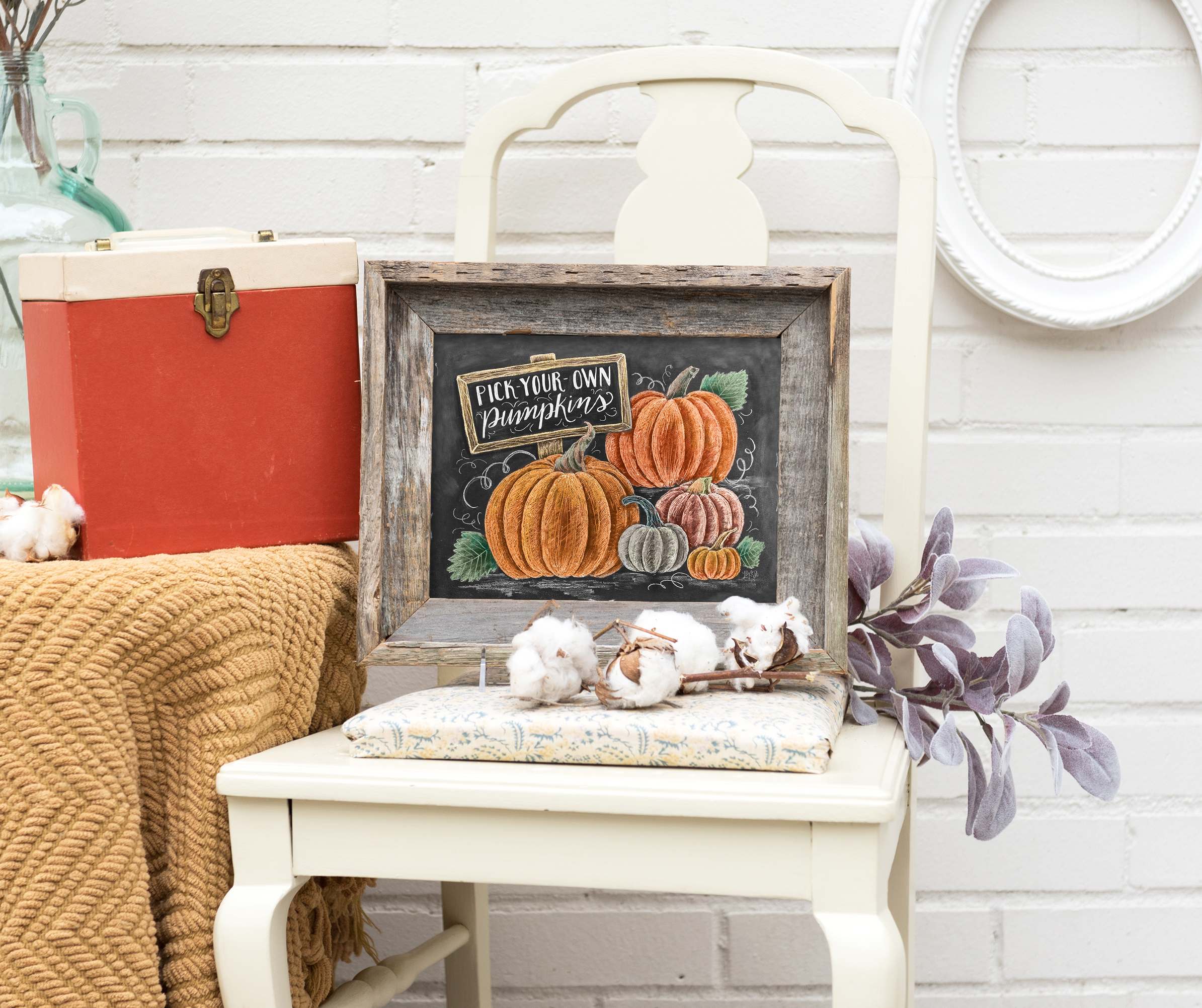 Bring a rustic chic touch to your fall decor with our Pick-your-own pumpkins chalkboard sign