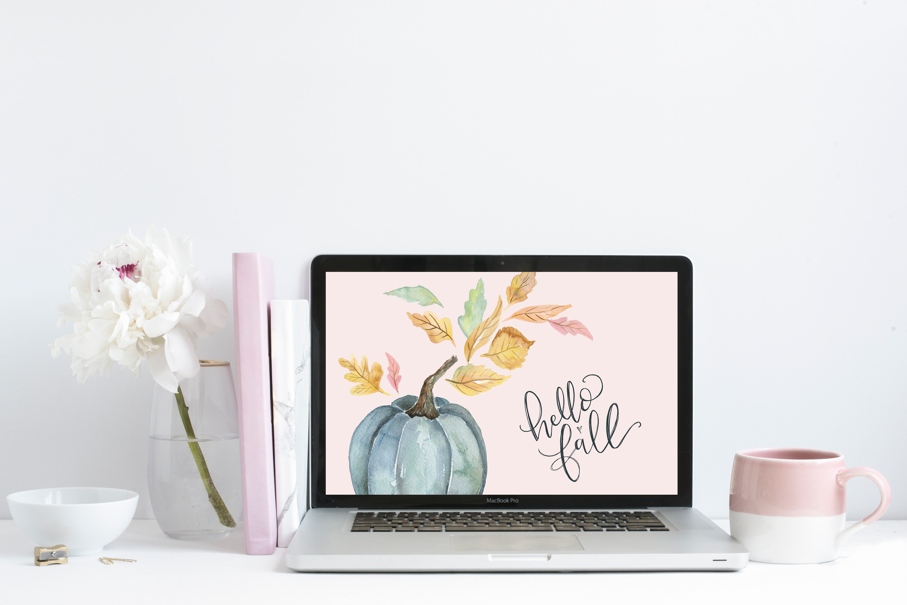 "September's ""Hello Fall"" Free Desktop Wallpaper Download - hand-drawn Blue pumpkin fall background"