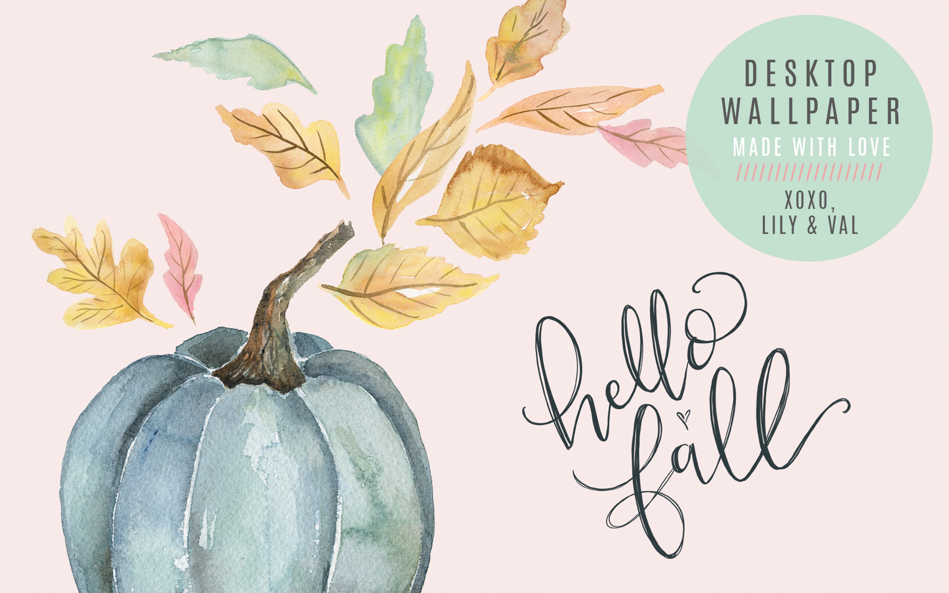 "September's ""Hello Fall"" Free Desktop Wallpaper Download - hand-illustrated blue pumpkin and leaves watercolor"