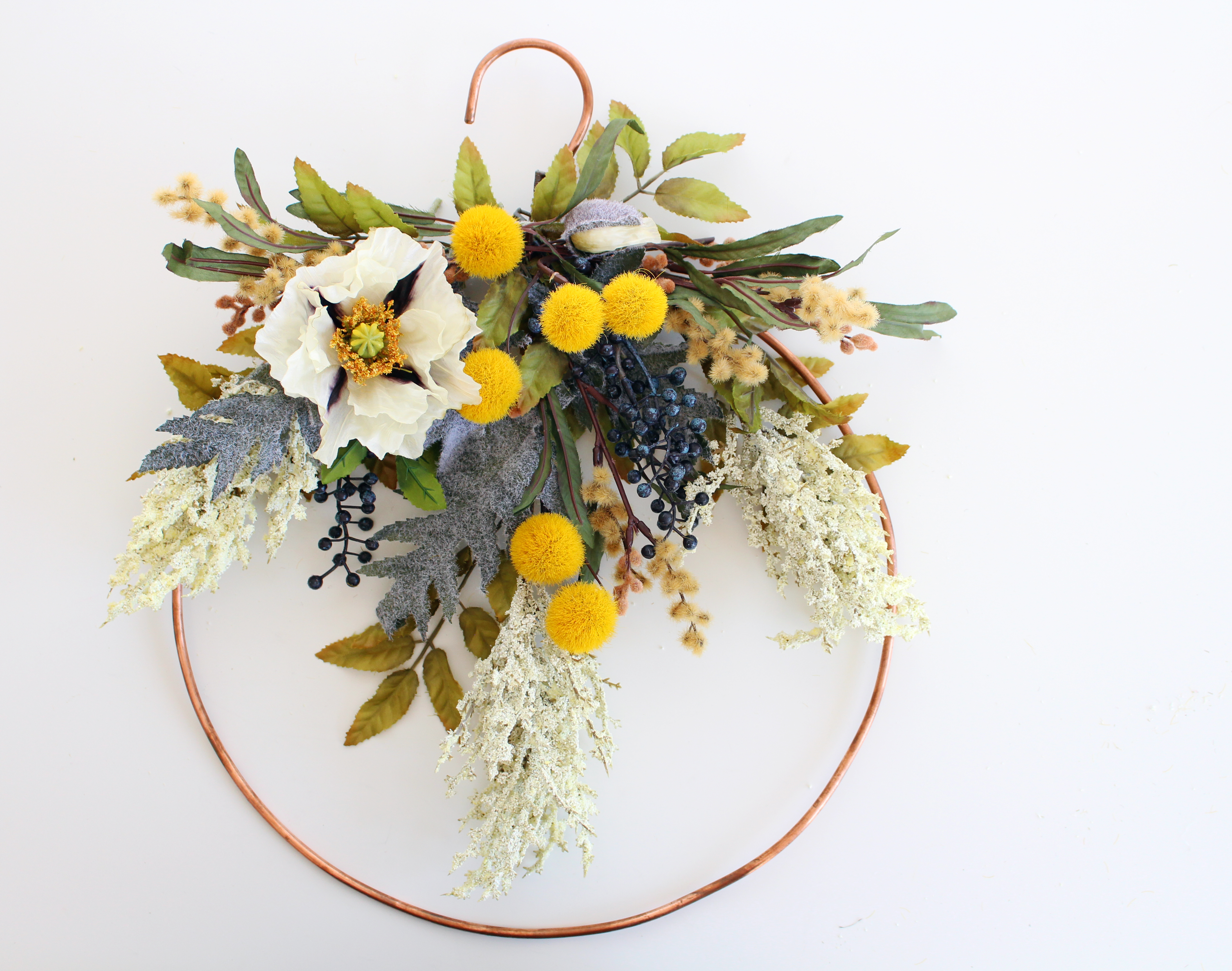 Make this amazing Faux Floral Fall Wreath on a handmade copper frame during the next Faux Floral Skills Workshop at the Lily & Val Flagship Store