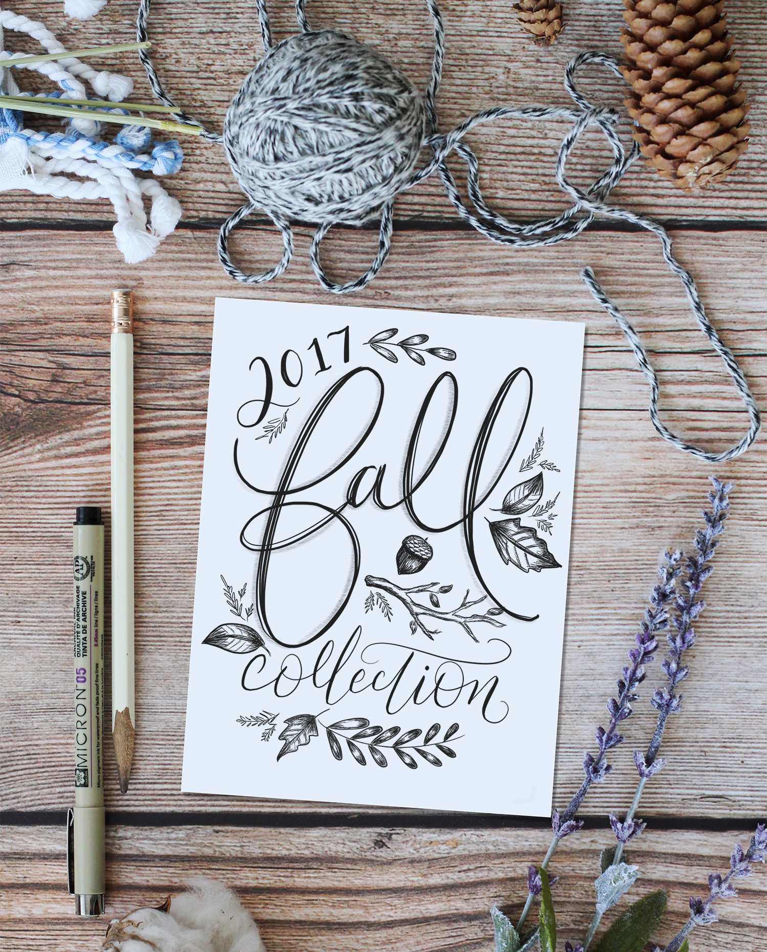 the 2017 Lily & Val Fall Collection features cozy textures, sophisticated colors, hand-drawn botanicals, and hand lettered and illustrated details