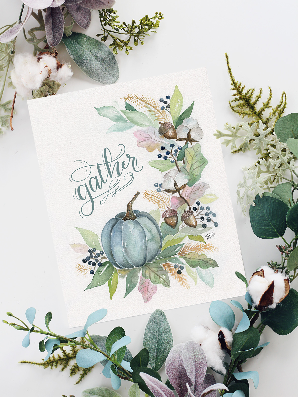 Gather Fall Print | Blue Pumpkin Decor for Fall | Fall Watercolor Art