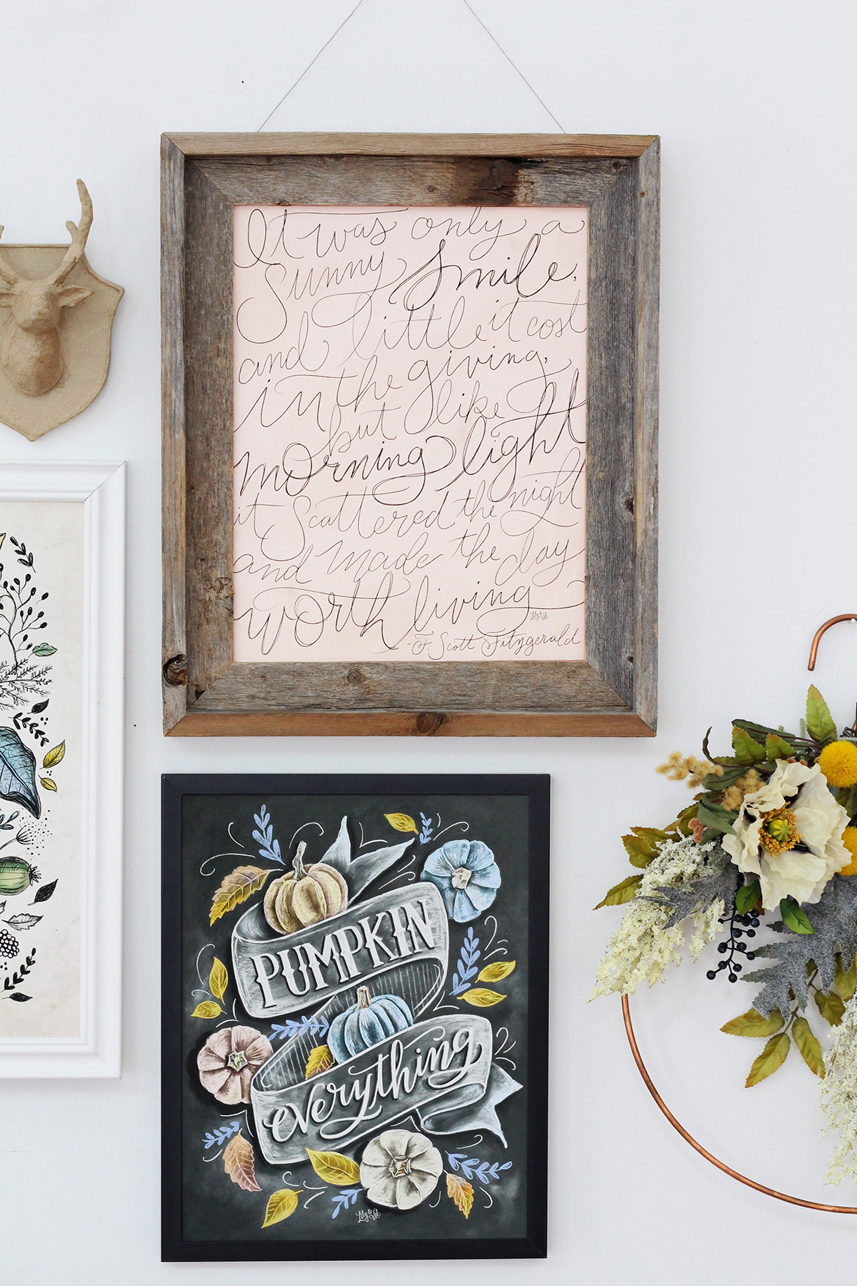 Gallery wall inspiration for elegant, non-traditional fall decor