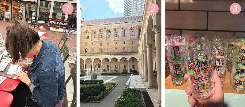 Lily & Val Presents: Pretty Ordinary Friday #67 with street art in Boston, the Boston Public Library and Valerie's hand-illustrated juice glasses at Anthropologie