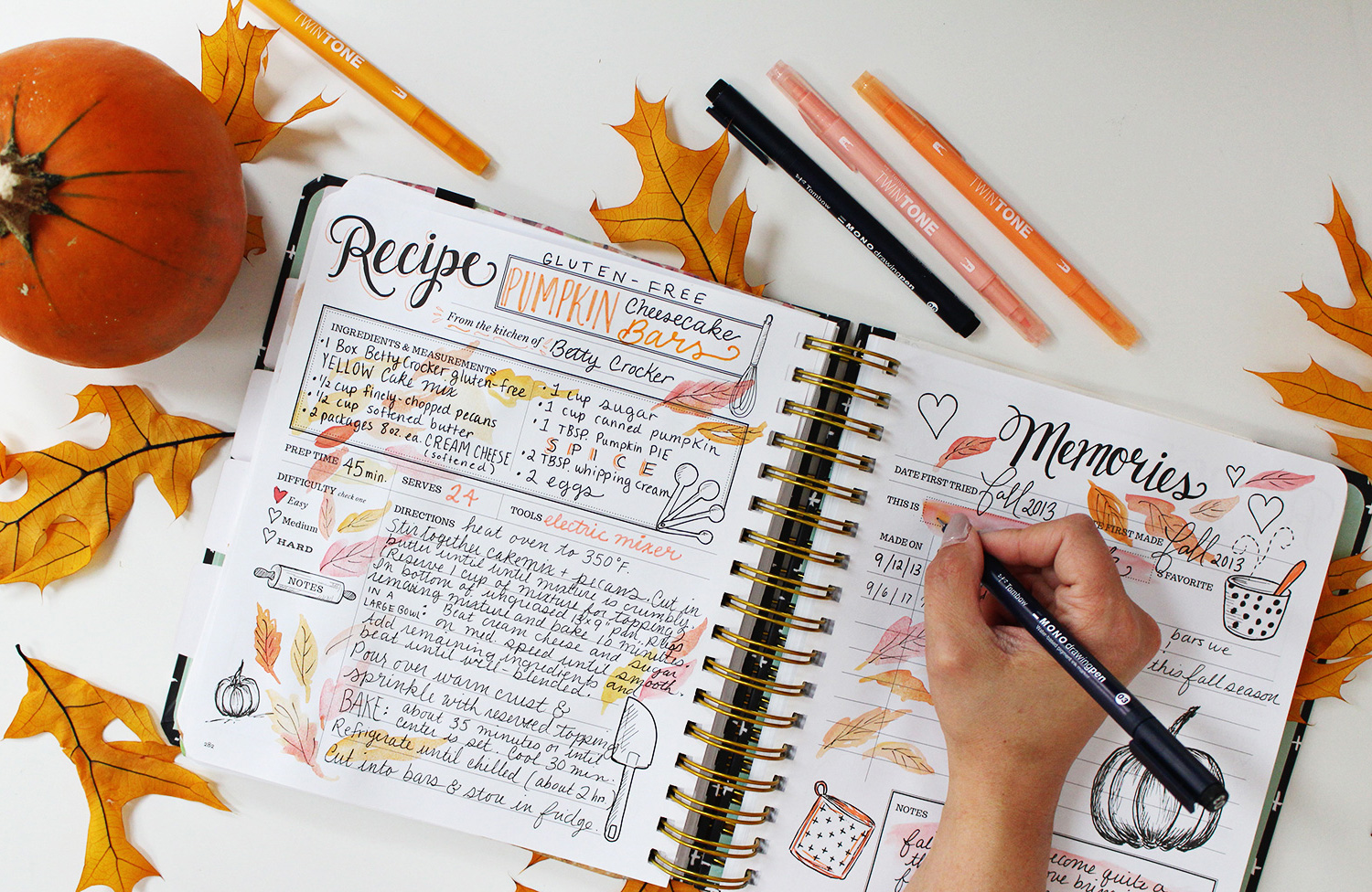 Pumpkin Cheesecake Bar Recipe in my Keepsake Kitchen Diary using Planner Supplies like New Tombow Markers & Pens