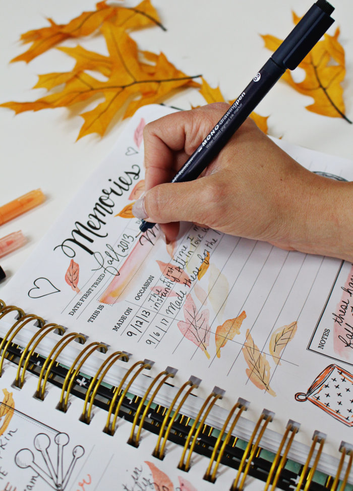 Pumpkin Cheesecake Bar Recipe in my Keepsake Kitchen Diary Using New Tombow Markers & Pens