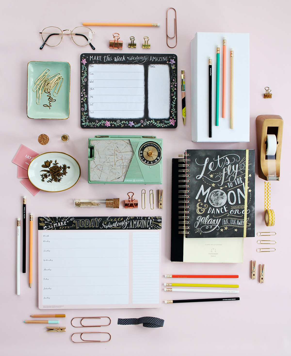 Beautiful hand-drawn and gold foil paper supplies to pretty your home or office desk