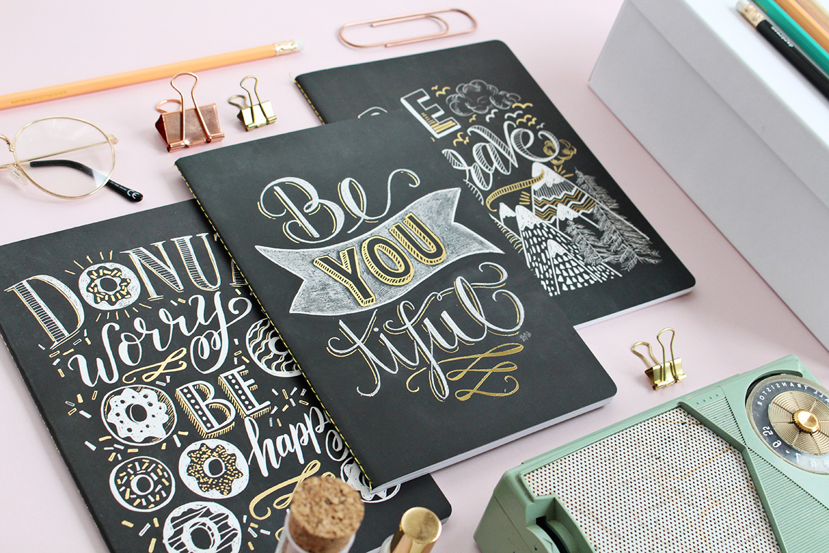 Set of three chalk art and gold foil notebooks! Beautifully packaged for gift-giving or to keep for yourself!