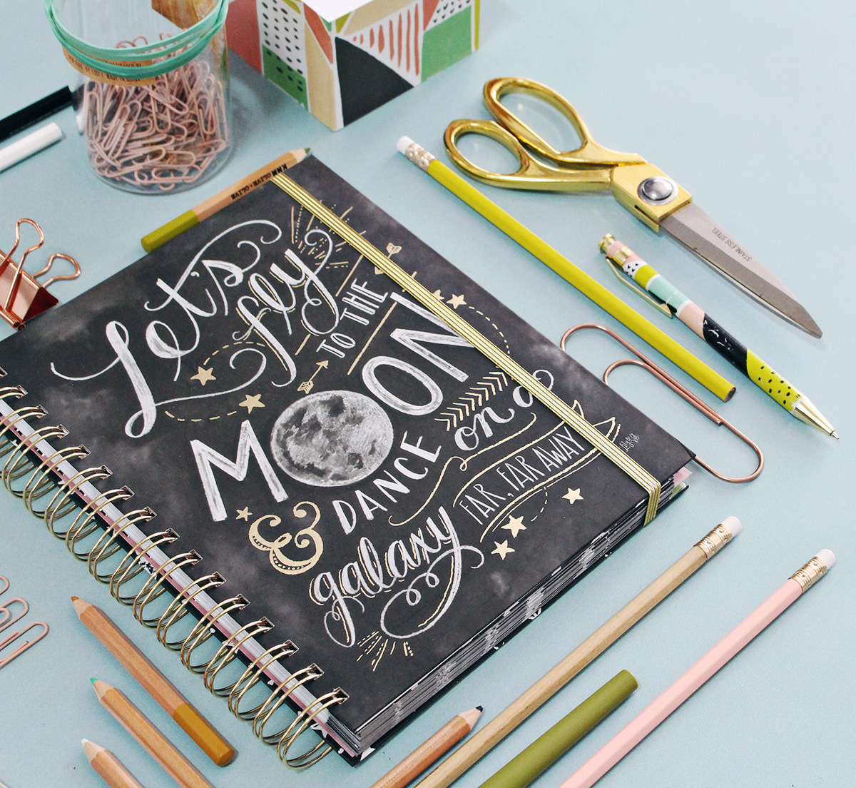 2018 agenda planner featuring hand-drawn chalk art by Valerie McKeehan and gold foil details