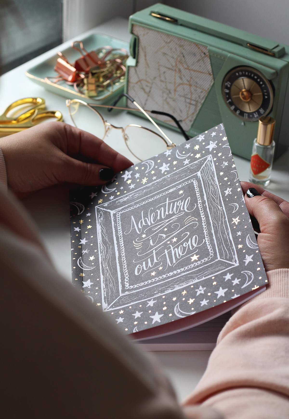 Adventure is out there journal! The stars sparkle with gold foil