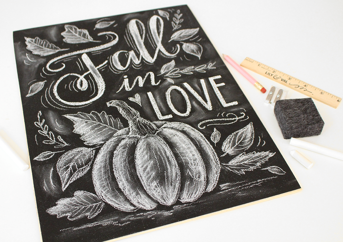 Fall in Love Pumpkin and Leaves Chalk art design by Valerie McKeehan of Lily & Val - Make yours at our upcoming Chalk Project Night