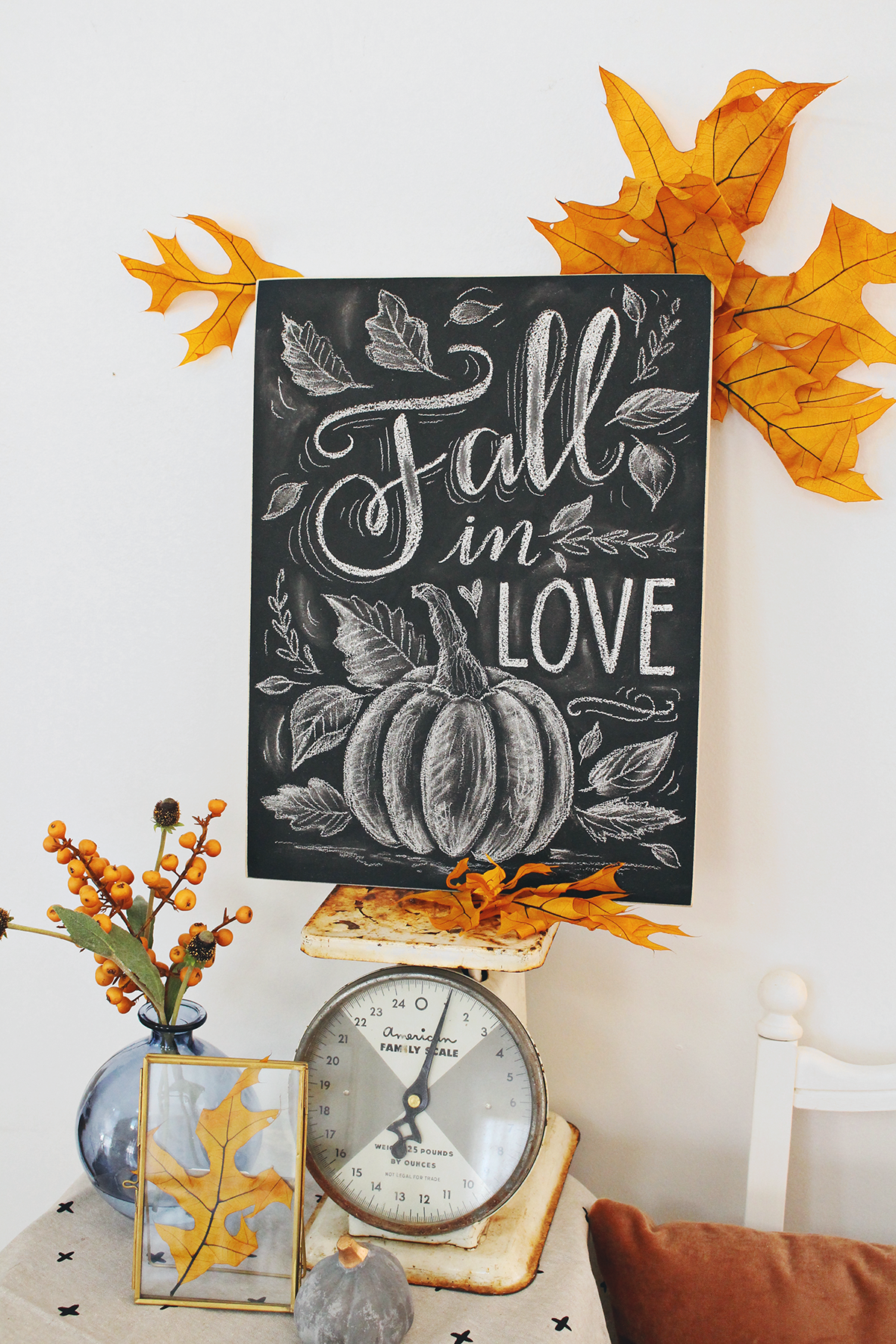 Chalkboard decorating for fall! Fall in Love Pumpkin and Leaves Chalk art design by Valerie McKeehan of Lily & Val - Make yours at our upcoming Chalk Project Night