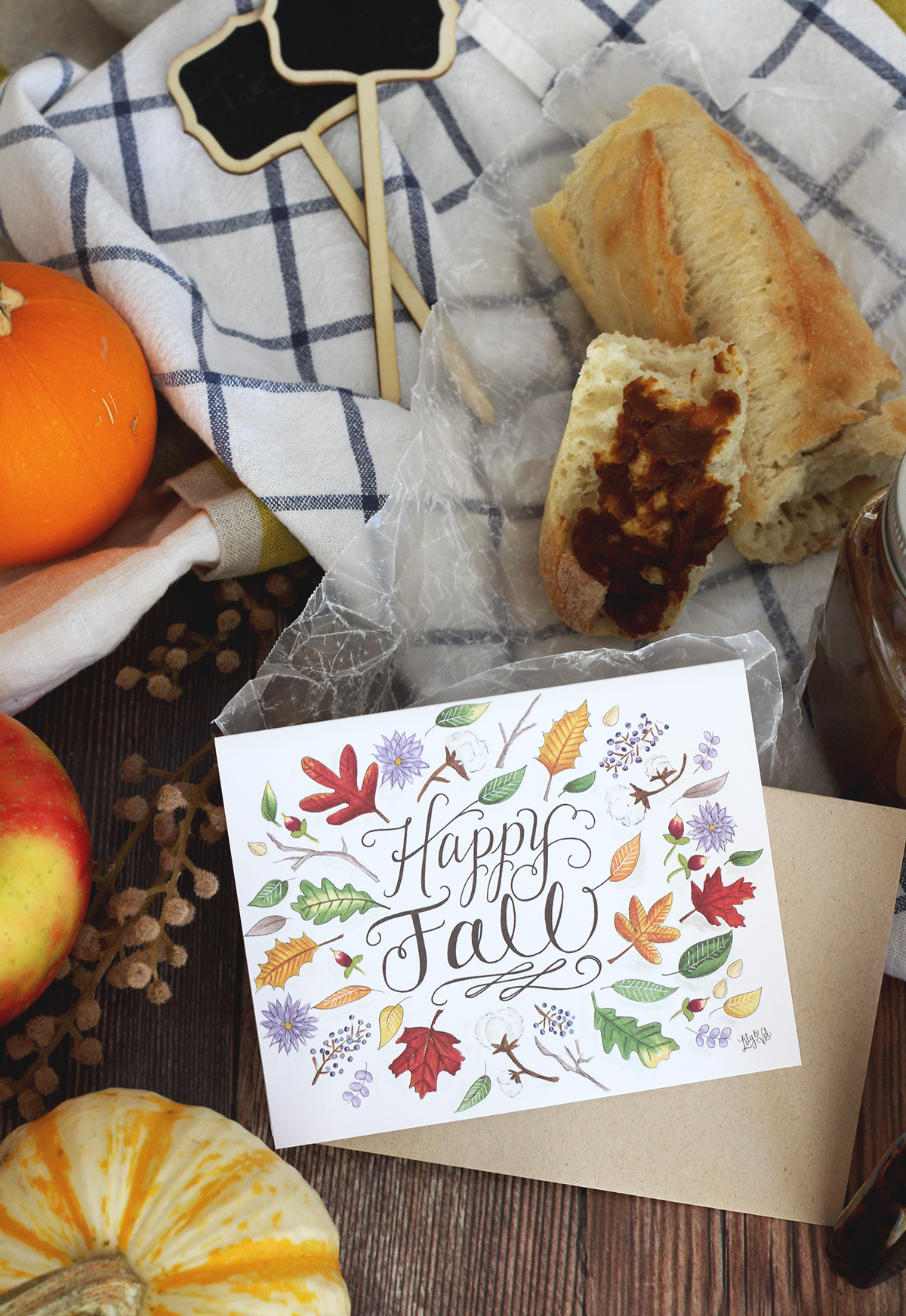 Food Gift Idea: Send a Lily & Val Happy Fall Card + Pumpkin butter packaged in jars topped with our FREE hand-drawn pumpkin butter labels! Simple & sweet