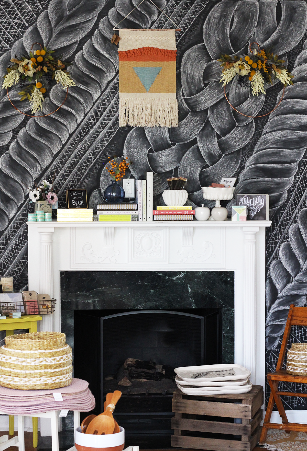 Valerie McKeehan drew a cable knit sweater in chalk on our chalkboard wall mantel at the Lily & Val Flagship Store