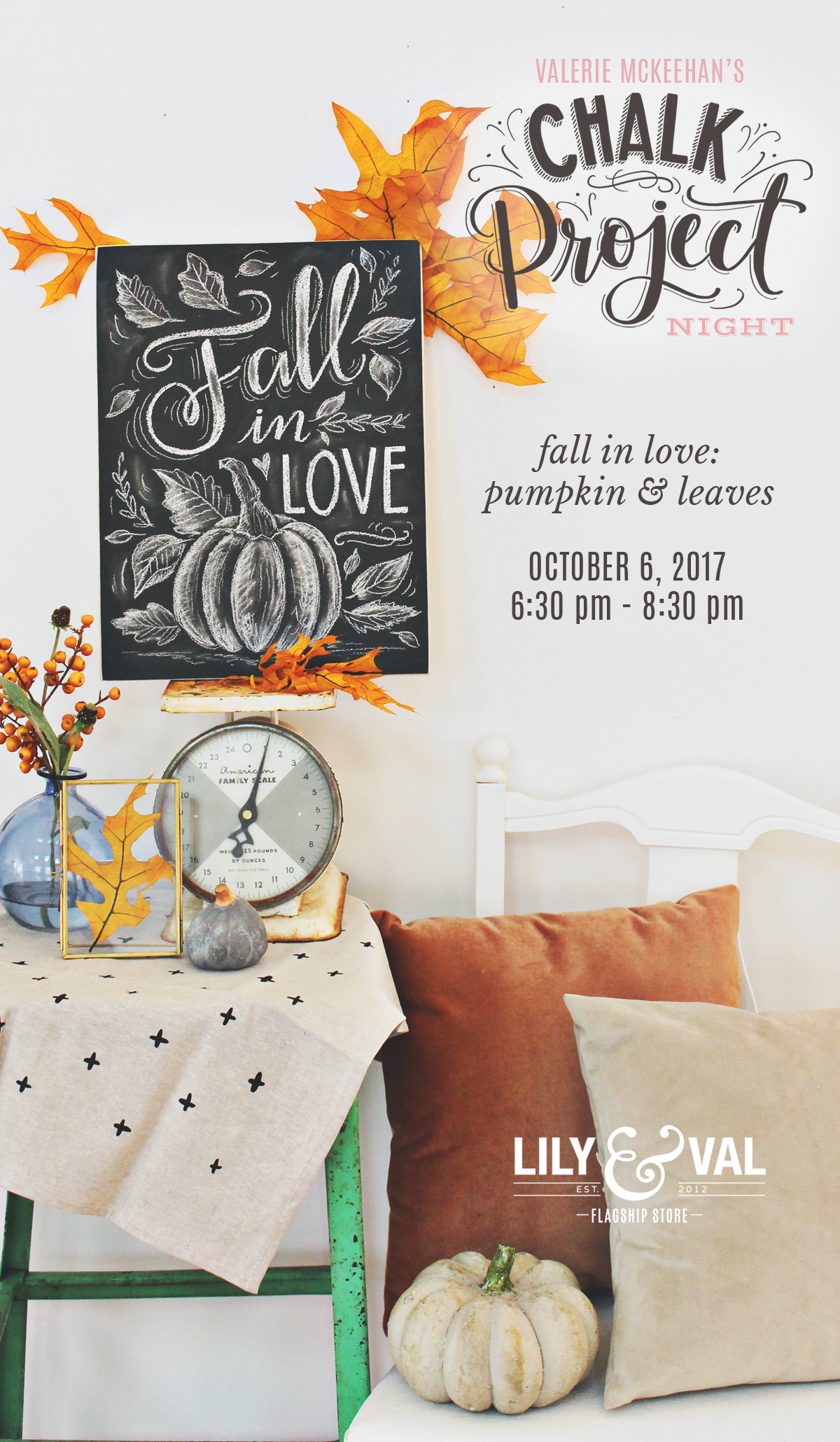 Walk through this Fall in Love Pumpkin and Leaves Chalk art design with Valerie McKeehan of Lily & Val