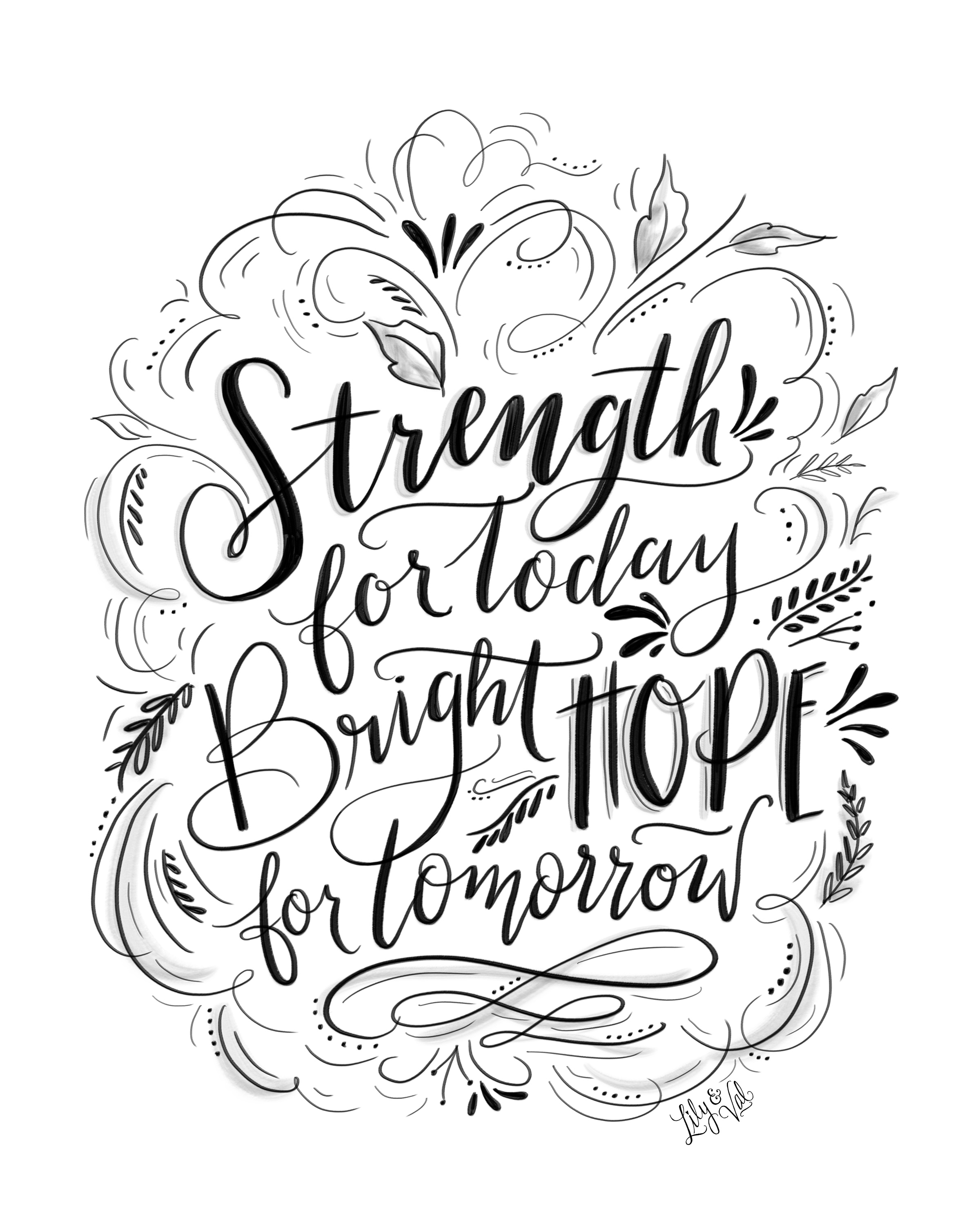 Hand lettered Strength & Hope Download for Hurricane Relief. - 100% of the proceeds will be donated.