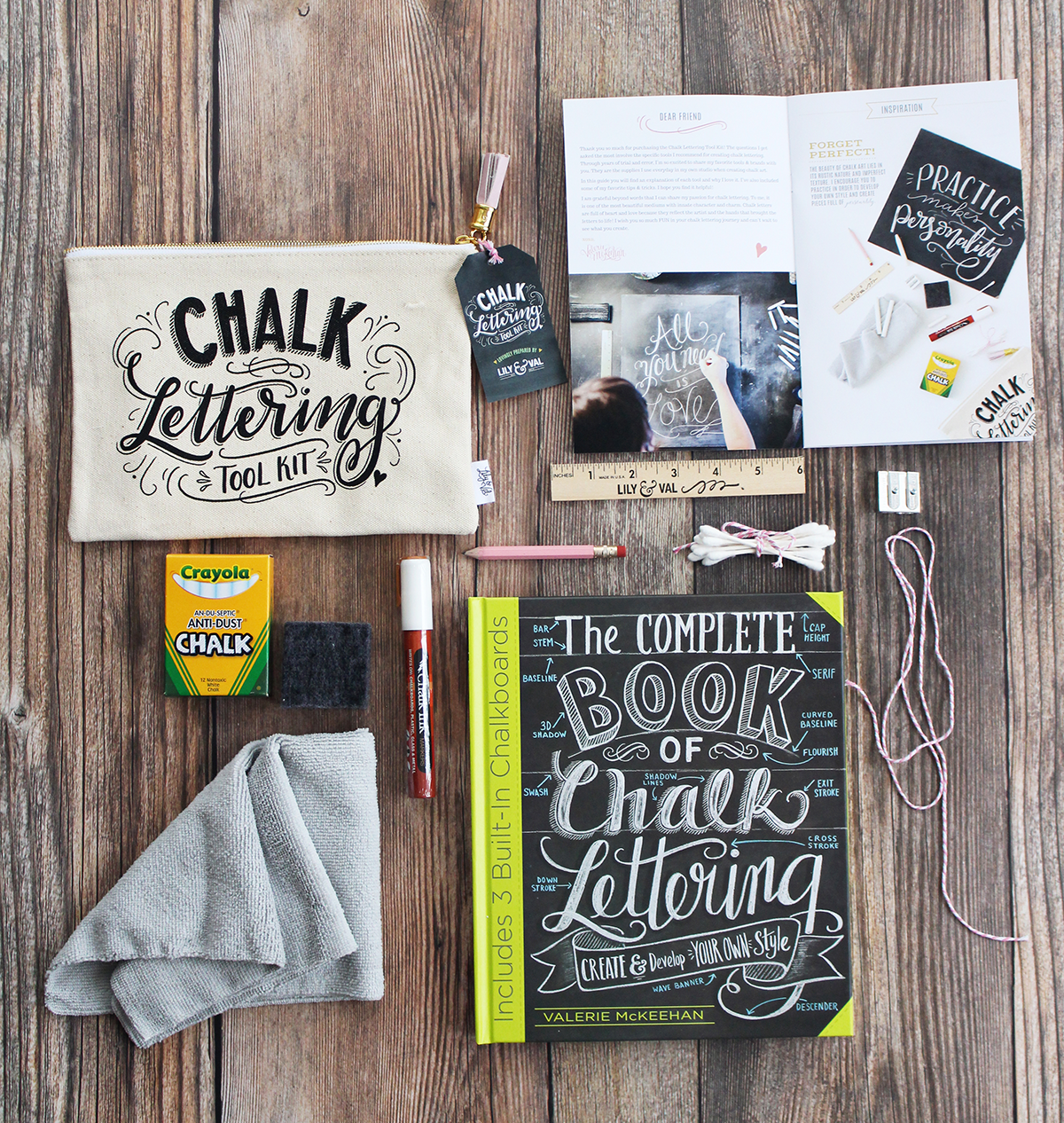 The Chalk Lettering Bundle includes the award-winning Chalk Lettering Toolkit and a signed copy of The Complete Book of Chalk Lettering for everything you need to get started with a chalk art hobby!