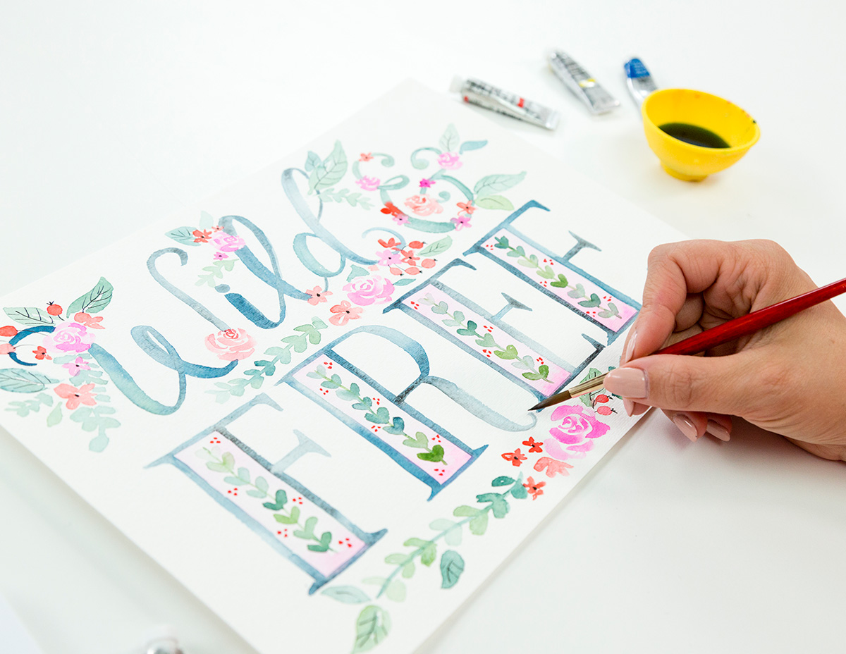Join Valerie McKeehan for her Illustrated Watercolor Lettering class offered through Brit + Co