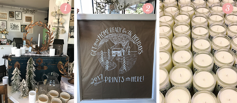 "Lily & Val Presents: Pretty Ordinary Friday #73 with Holiday Flagship store reset, Kraft paper holiday window art and Candelles ""Cozy Winter Vibes"" candles"