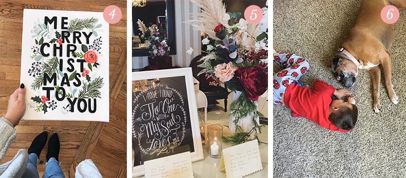 Lily & Val Presents: Pretty Ordinary Friday #73 with 2017 Holiday launch Merry Christmas typography art, faux floral wedding arrangements and a boy and his Boxer