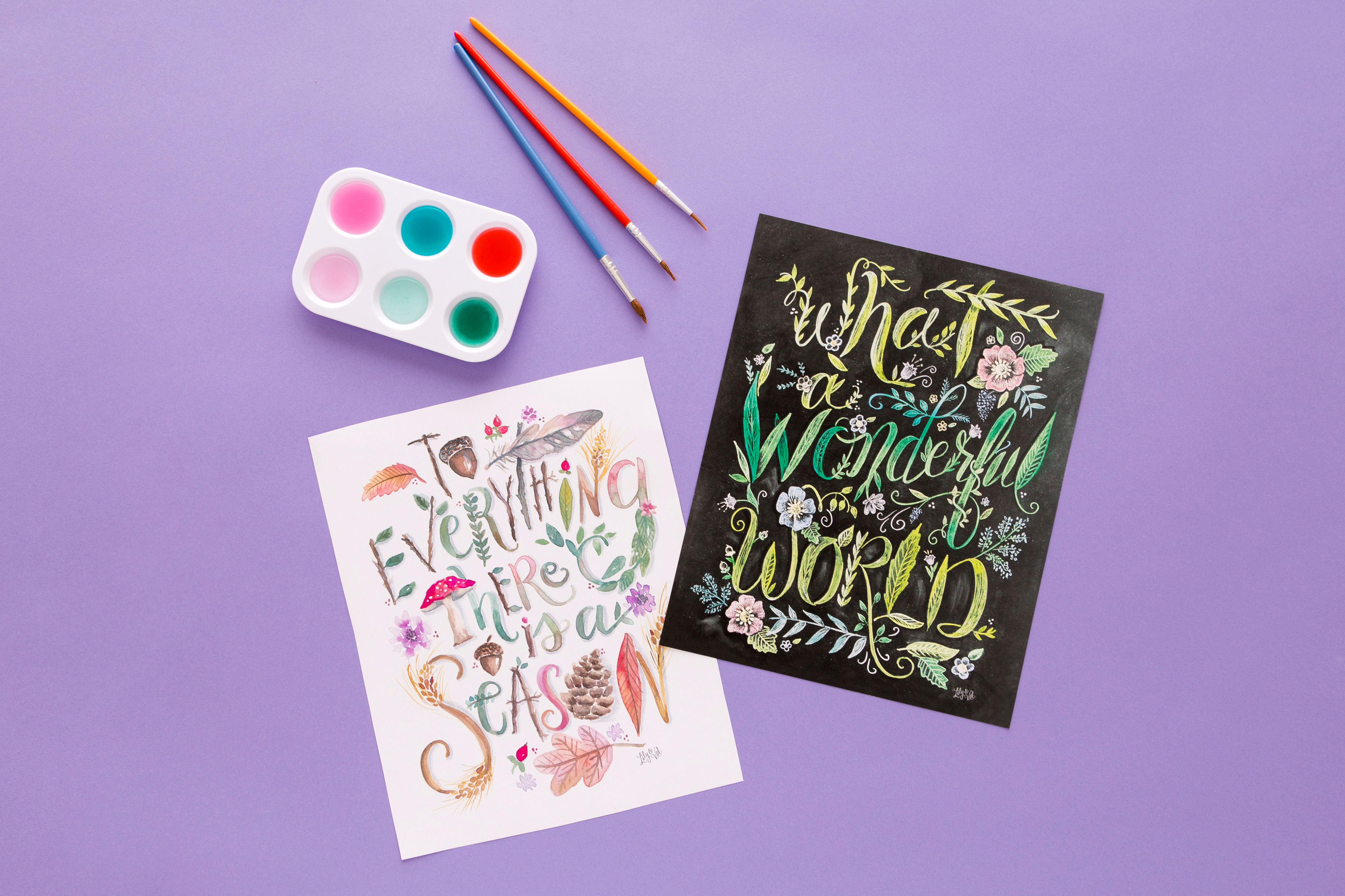 Illustrated lettering prints by Lily & Val