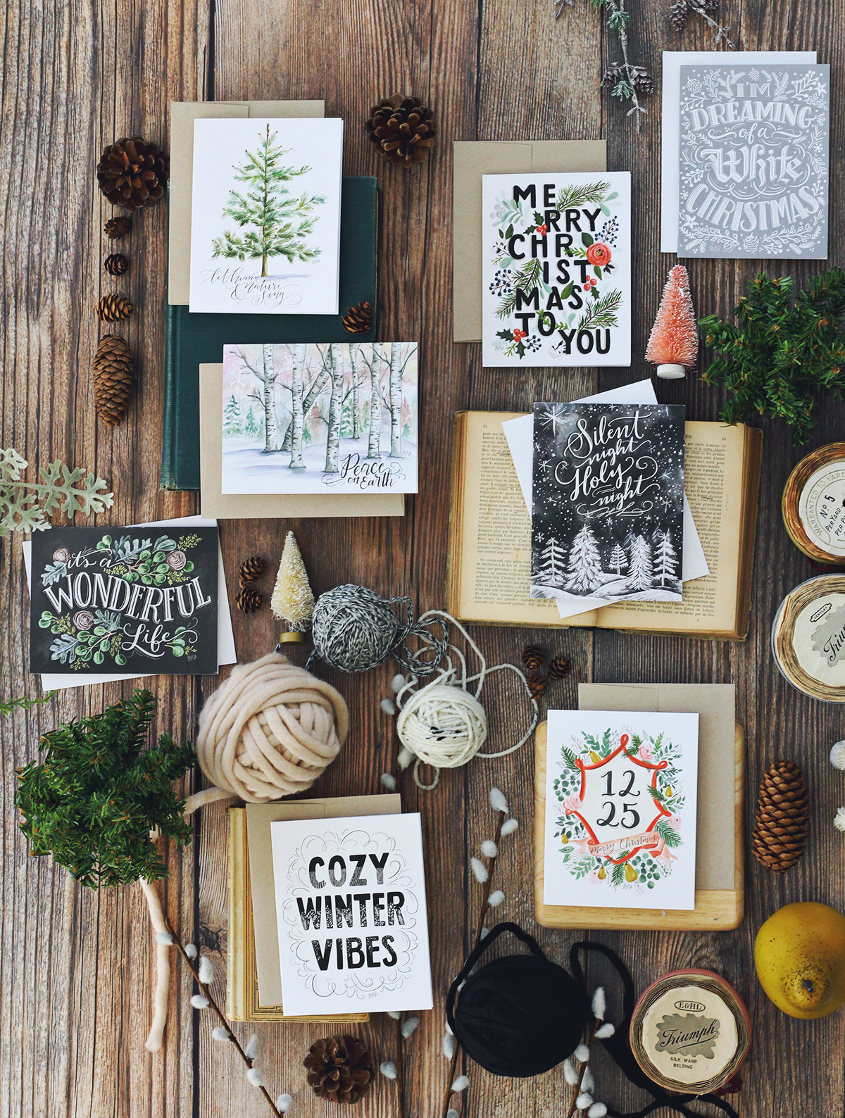 Beautiful, hand drawn and illustrated holiday cards | Available as singles or sets of 8